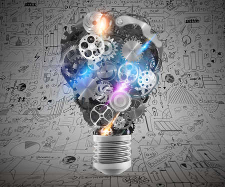 business gears: Big bulb light with mechanisms and gears. Concept of a big creative business idea. 3d rendering