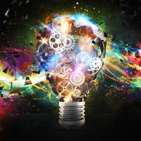 大きな電球歯車機構と照明効果。大きな創造的なビジネスのアイデアの概念。3 d レンダリング 写真素材