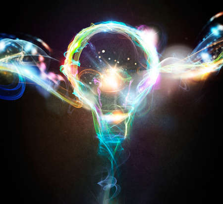 intuition: Light bulb drawn with colourful lighting effects