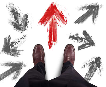 problem: Businessman decided direction and follows the red arrow