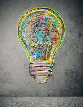 information analysis: Lightbulb drawn and colored with business sketches