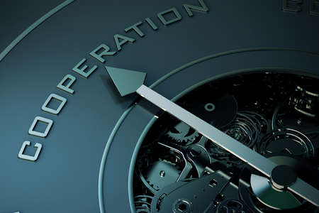 aim: 3D Rendering of Compass arrow pointing to the word cooperation