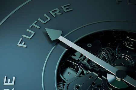the future: 3D Rendering of Compass arrow pointing to the word future