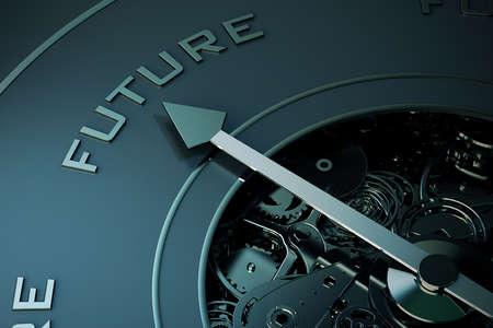 brujula: Representación 3D de flecha apuntando a la palabra futuro Foto de archivo