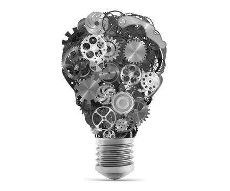 embed: Big bulb light with mechanisms and gears. 3d rendering Stock Photo