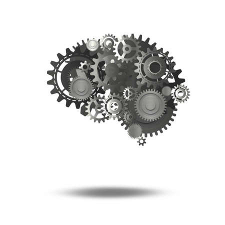 System of mechanical gears as a human brain   . 3D Rendering