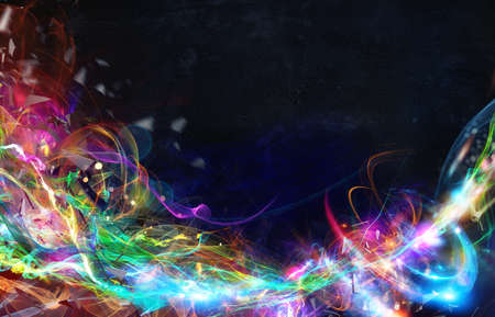 wave: Modern abstract colourful light motion banner on dark background Stock Photo