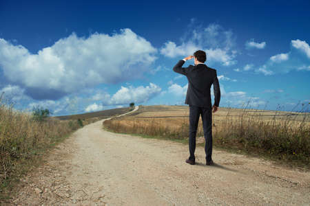 Businessman looks at the horizon from a rural road
