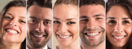 Banner lidí s úsměvem výrazem