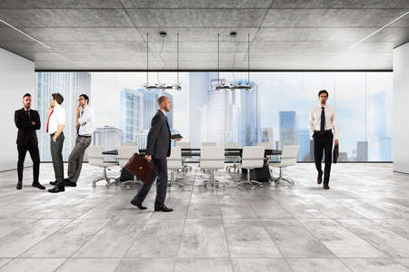 Businessmen in the luxury executive office with city view window Stock Photo