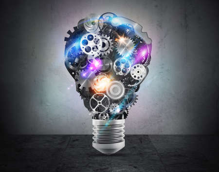 systems thinking: Mechanisms of bright gears forming a bulb. 3D Rendering