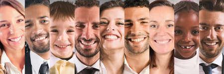 웃는 표정으로 사람들의 배너