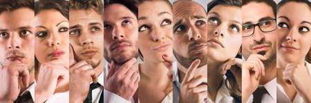Collage van de gezichten van mensen met een nadenkende uitdrukking