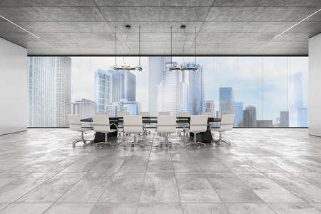 ejecutivo en oficina: oficina ejecutiva de lujo con la ventana de vista de la ciudad. Representación 3D