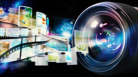 Obiettivo professionale della macchina fotografica reflex con effetti di luce e lo streaming di foto con la pellicola Archivio Fotografico - 64965820