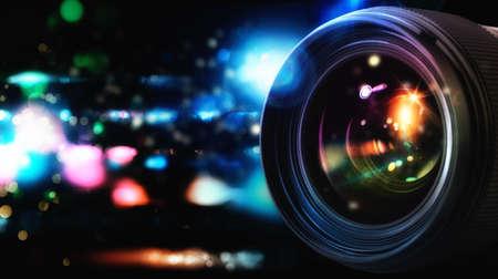 obiettivo professionale della macchina fotografica reflex con effetti di luce