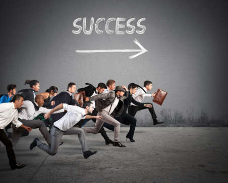 Business people run together in the same direction Stockfoto