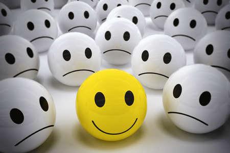 3D-rendering gele bal met smiley gezicht onder zo vele witte triest ballen. gelukkig leider steunt zijn negatieve team