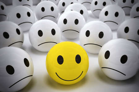 3D Rendering yellow ball with smiley face among so many white sad balls. happy leader supports his negative team