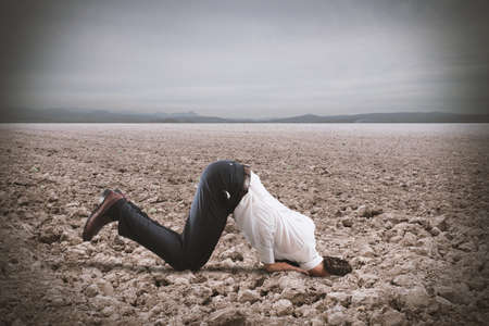 find: Afraid businessman hides his head under the ground like an ostrich. Fear of crisis concept Stock Photo