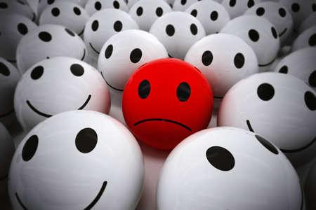autoridad: 3D Rendering bola roja con la cara triste entre tantos bolas sonrientes blancos. feliz de la ayuda del equipo a su líder triste