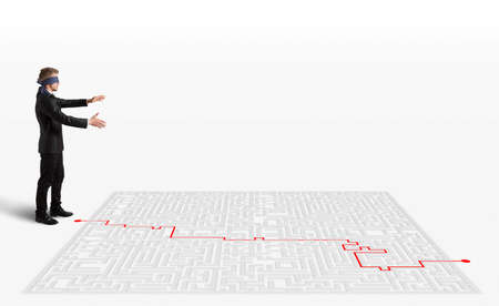 way out: 3D Rendering Hand draws and help a blindfolded businessman to  way out of the maze
