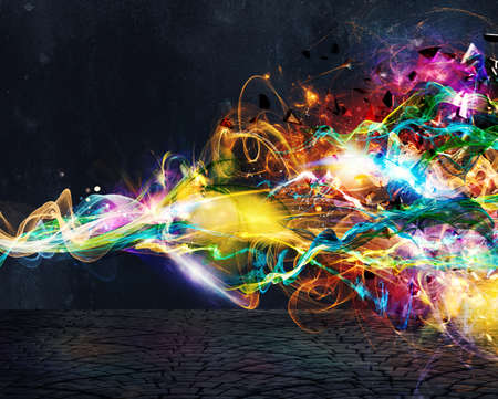 Modern abstract colourful light motion banner on dark background Banque d'images