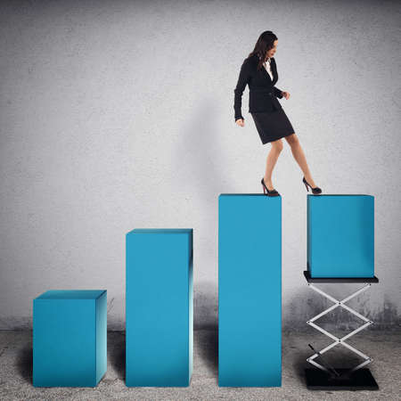 woman handle success: Businesswoman tampers a step of statistic lifting it with a spring to increase profits. 3D Rendering