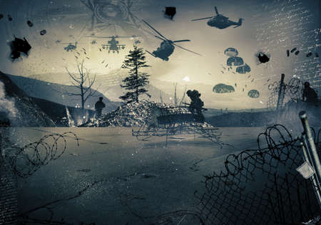 battleground: Background of a landscape at war with military helicopters in the sky