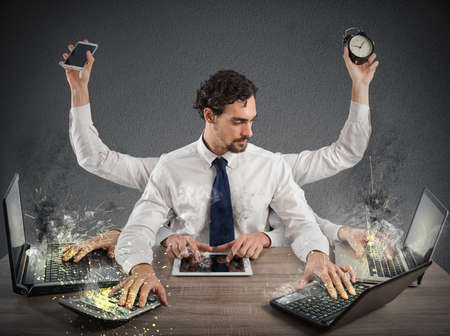 too much: Businessman stressed out from too much work