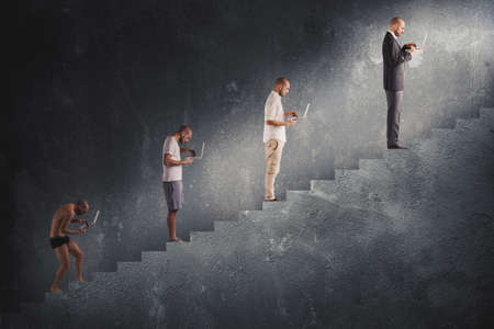 laptop: Evolution from hunched man to successful man in a staircase Stock Photo
