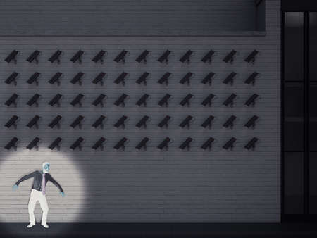 Afraid business is hiding from cameras pointed at him. 3D Rendering Stockfoto