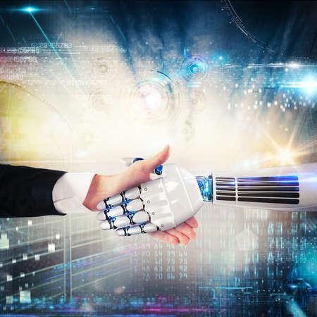 Verbinding en overeenkomst tussen de mens en de virtuele wereld. 3D Rendering Stockfoto