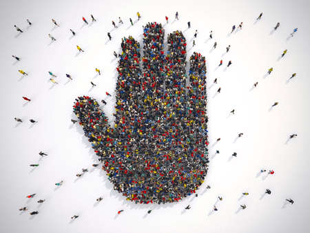 3D Rendering crowd of people united forming a hand