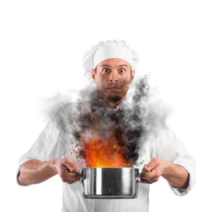 burning: Chef shocked holding a pot with flames