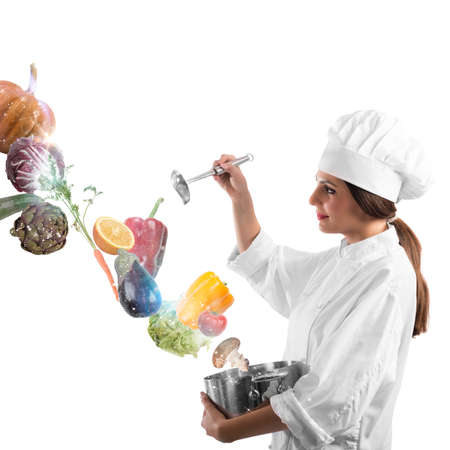 Chef with pot and spoon and vegetable
