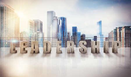 Written leadership on a terrace of skyscraper. 3d rendering Stockfoto