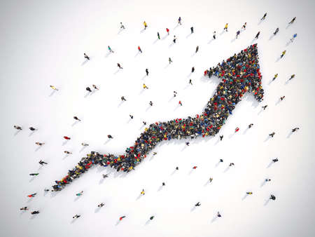 3D rendering of people forms an arrow Stock Photo