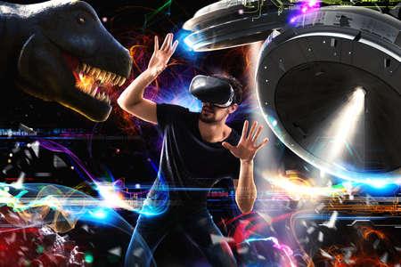 3 D 眼鏡の男は、ビデオゲームで遊ぶ