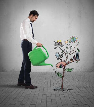 ganancias: El hombre de negocios regar las plantas con un gráfico y estadísticas