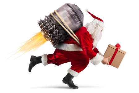 Santa Claus with gift box flies with a missile