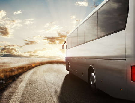 omnibus: Bus driving on road with landscape background. 3D Rendering Stock Photo