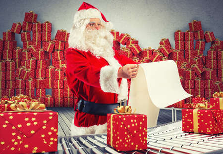 roller: 3D Rendering santa claus checking on list xmas gift boxes and wrapped on conveyor roller Stock Photo