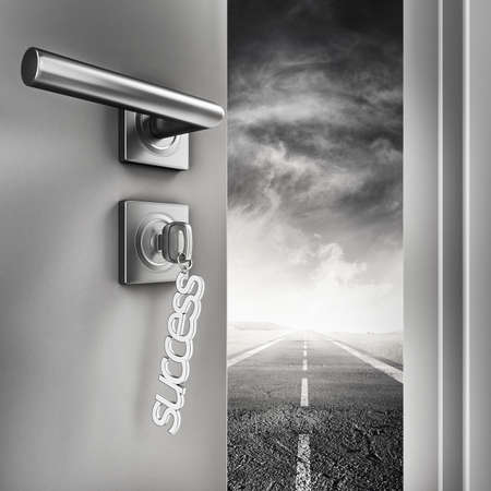 possibility: 3D Rendering Open door with success keyrings on a road