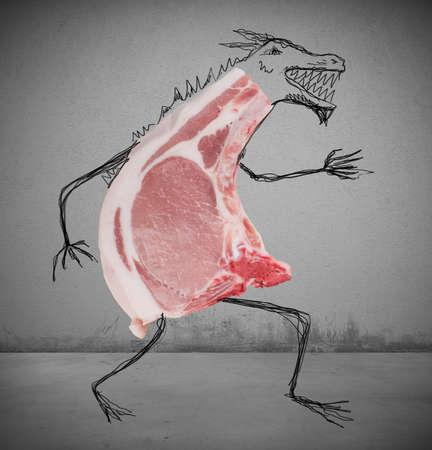 desconfianza: Trozo de carne cruda con un mal dibujado monstruo