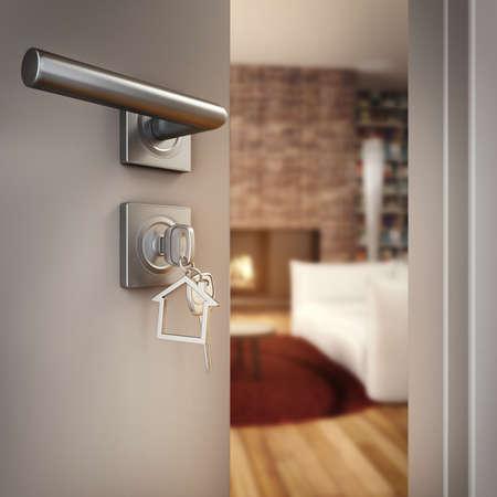 3D-rendering Open deur met sleutel op de woonkamer van een huis