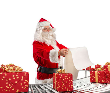 3D Rendering santa claus checking on list xmas gift boxes and wrapped on conveyor roller Stock Photo
