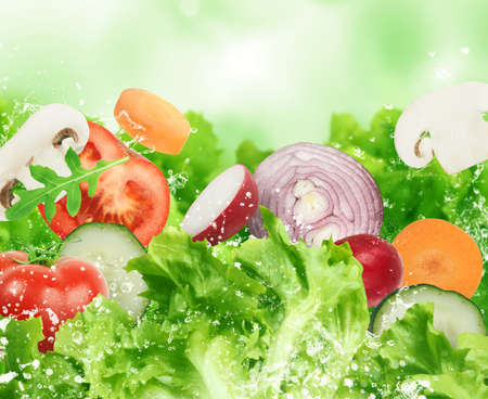 Background of salad . Healthy food for wellness concept