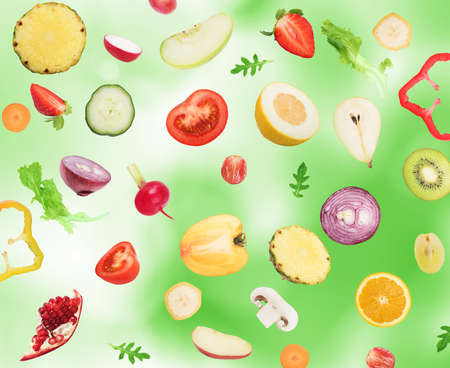 fruit: Background of fruits and vegetables . Healthy food for wellness concept Stock Photo