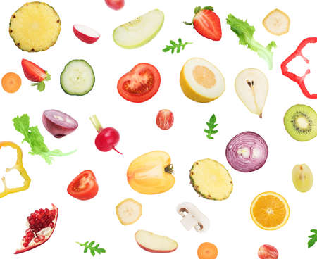 Background of fruits and vegetables . Healthy food for wellness concept Stock Photo